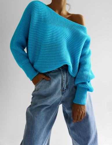 Sweter V-neck Turkus